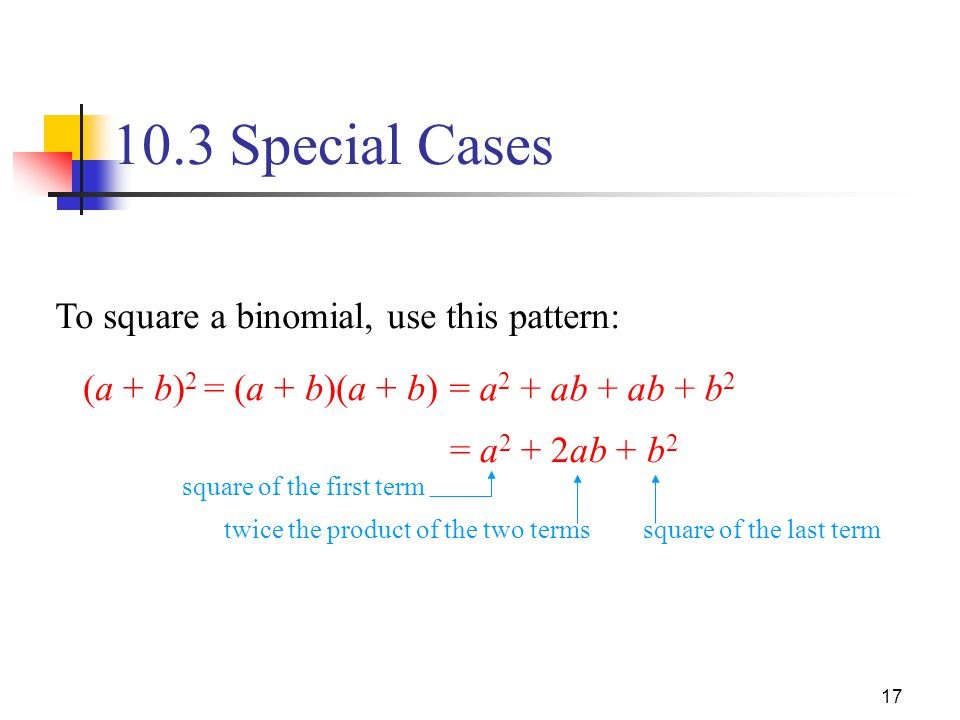 10.3 Special Cases To square a binomial, use this pattern: