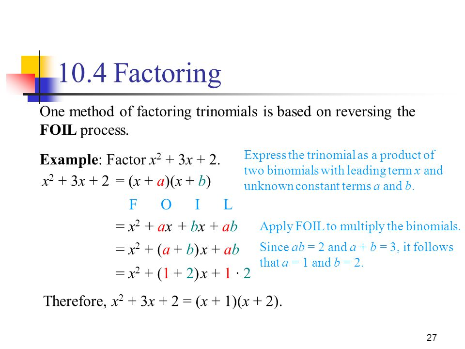 10.4 Factoring One method of factoring trinomials is based on reversing the FOIL process.