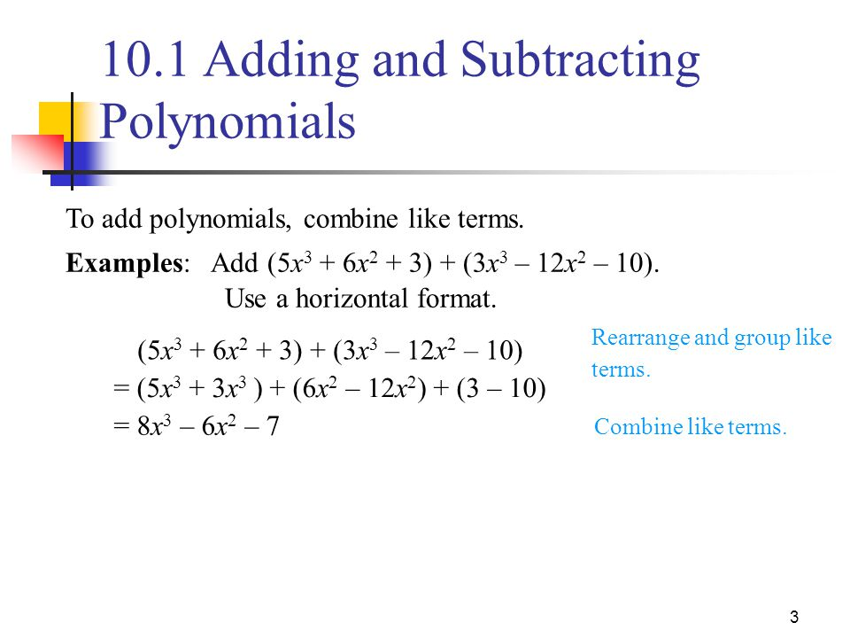 10 1 Adding And Subtracting Polynomials Ppt Video Online
