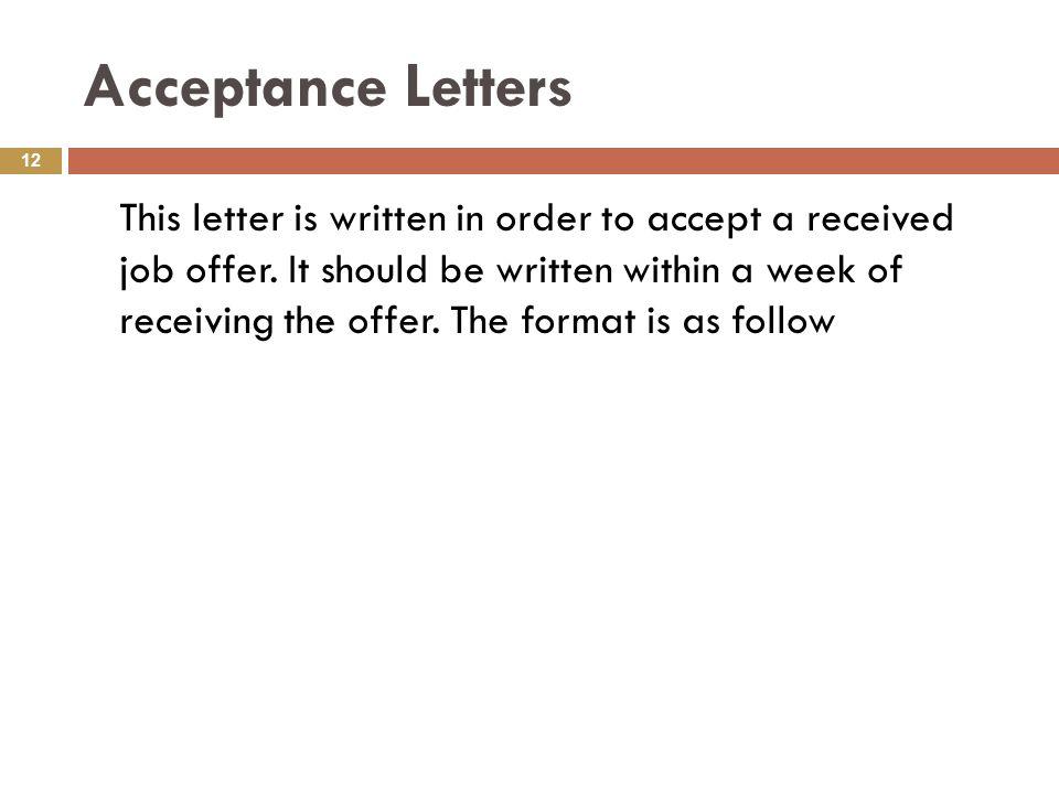 Acceptance Letter Format Job Acceptance Letter Sample Email