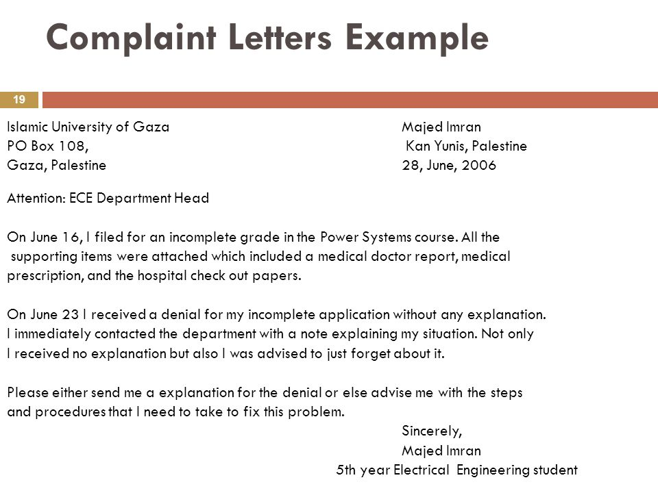 Complaint letter response example accepting just letter example of formal letter sample to principal spiritdancerdesigns Image collections