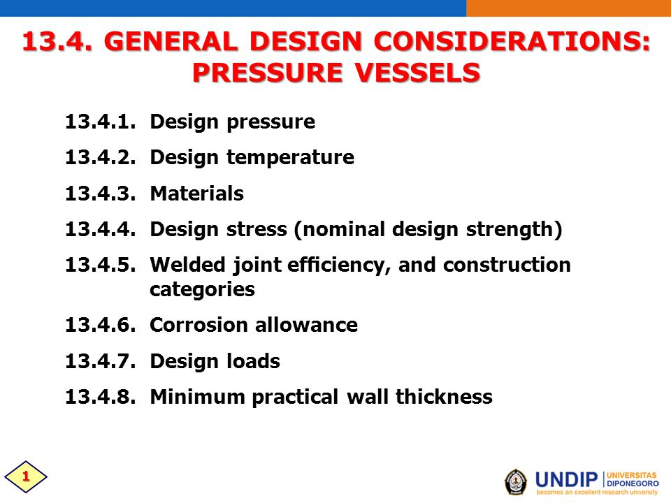13 4  GENERAL DESIGN CONSIDERATIONS: PRESSURE VESSELS