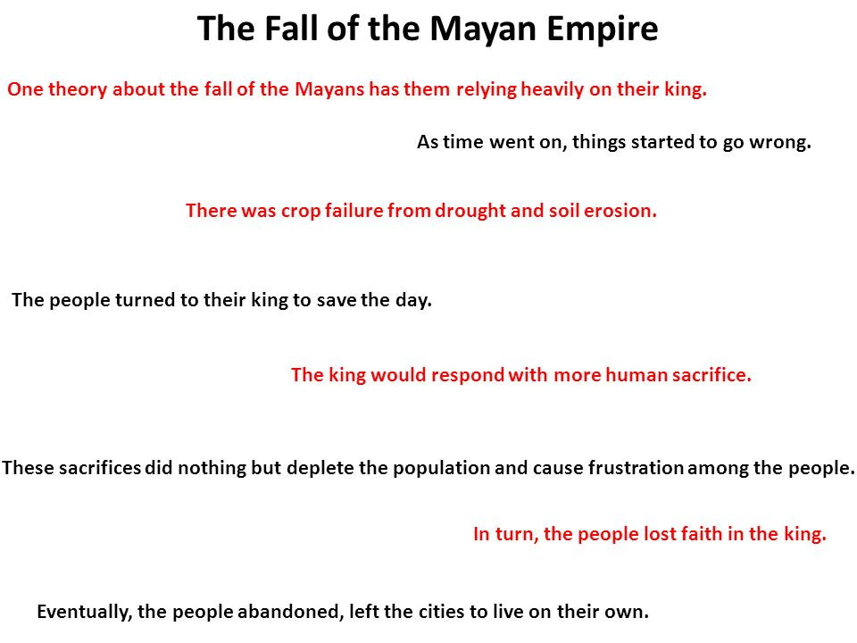 the fall of the mayan civilization The mayan civilization came to a surprisingly abrupt end, and the cause of this fall is still a hotly debated topic one of the most widely accepted theories is that the delicate ecology of the yucatán rainforests simply could no longer support the growing population of the mayan people.