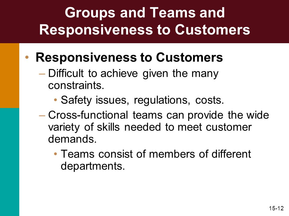 Groups and Teams and Responsiveness to Customers