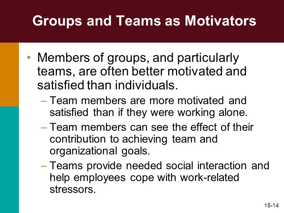 Groups and Teams as Motivators