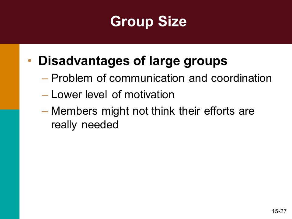 Group Size Disadvantages of large groups