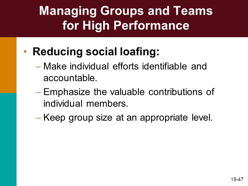Managing Groups and Teams for High Performance