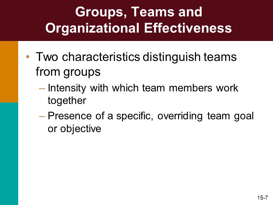 Groups, Teams and Organizational Effectiveness