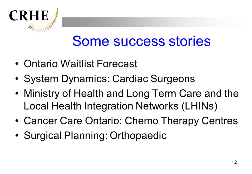 Some success stories Ontario Waitlist Forecast
