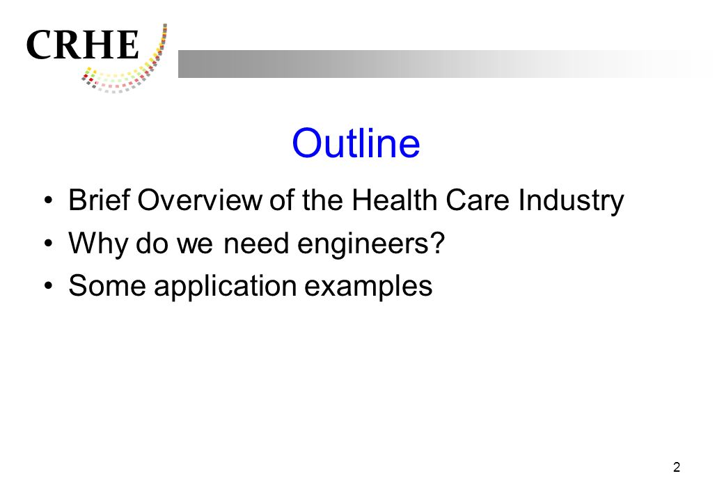 Outline Brief Overview of the Health Care Industry