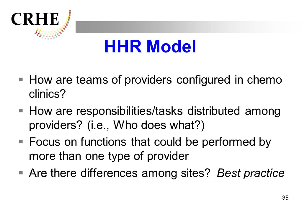 HHR Model How are teams of providers configured in chemo clinics