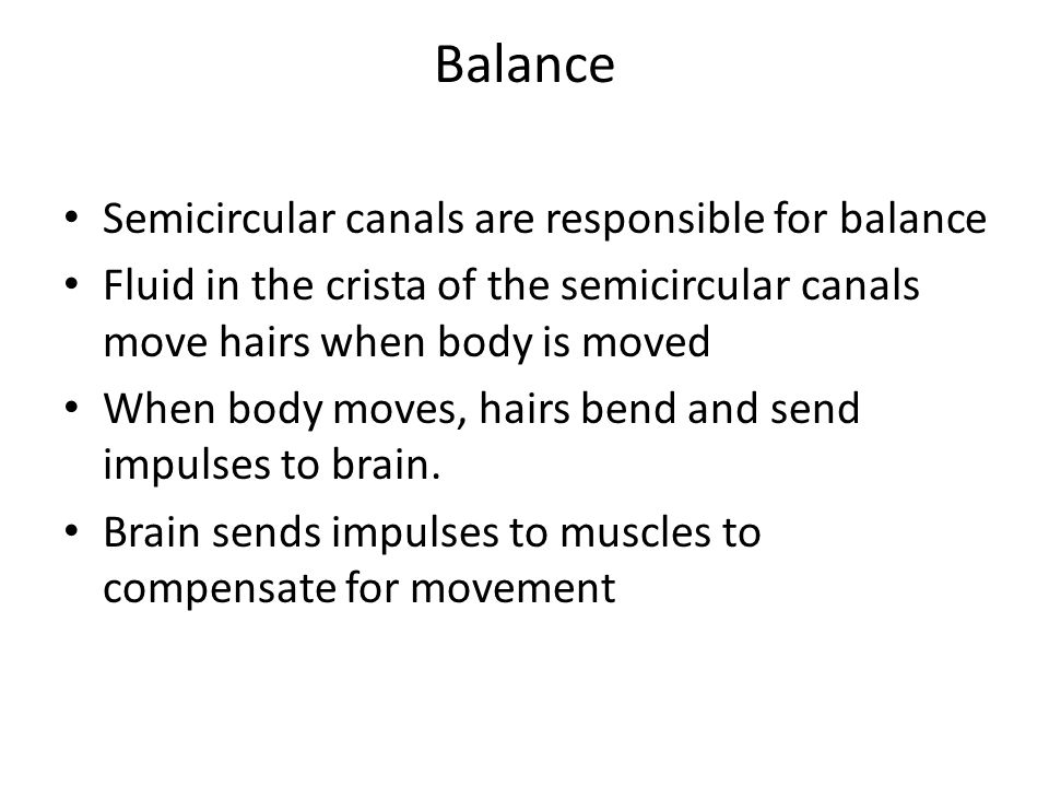 Balance Semicircular canals are responsible for balance