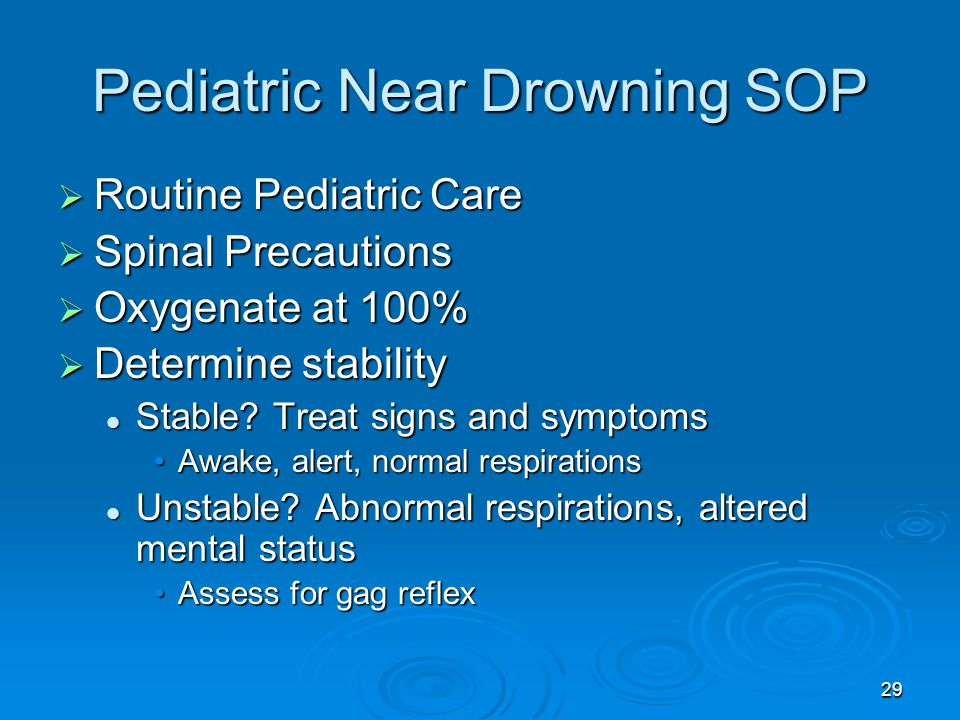 """near drowning If the person dies at any time as a result of drowning, this is termed a fatal drowning any submersion or immersion incident without evidence of respiratory impairment should be considered a water rescue and not a drowning terms such as """"near drowning,"""" """"dry or wet drowning,"""" """"secondary drowning,."""