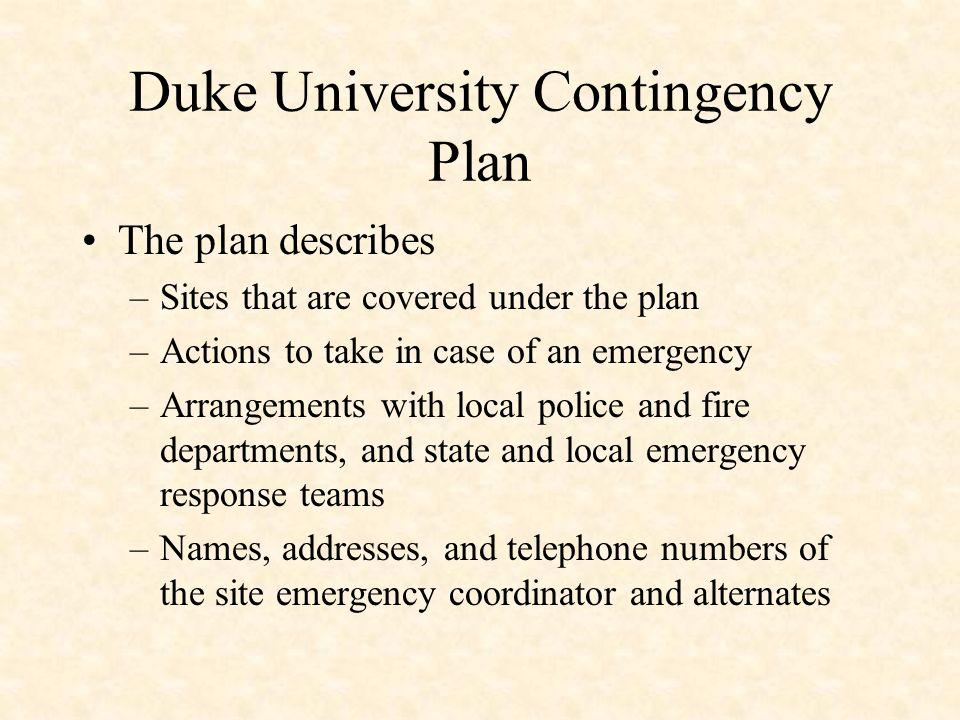 Duke University Contingency Plan