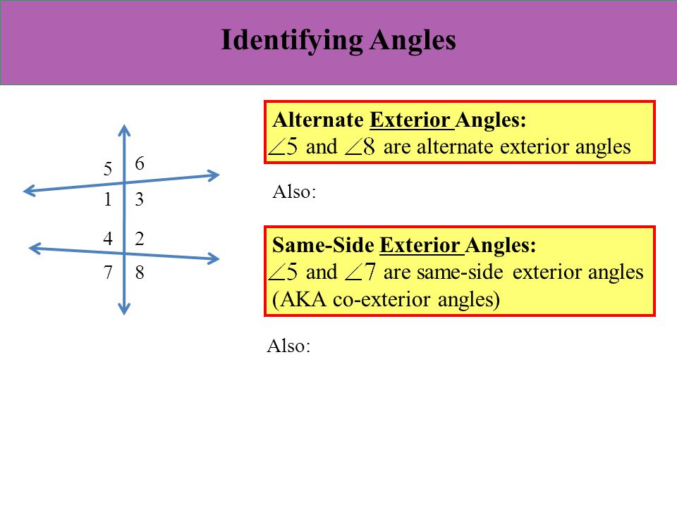 Identifying Angles Alternate Exterior Angles: