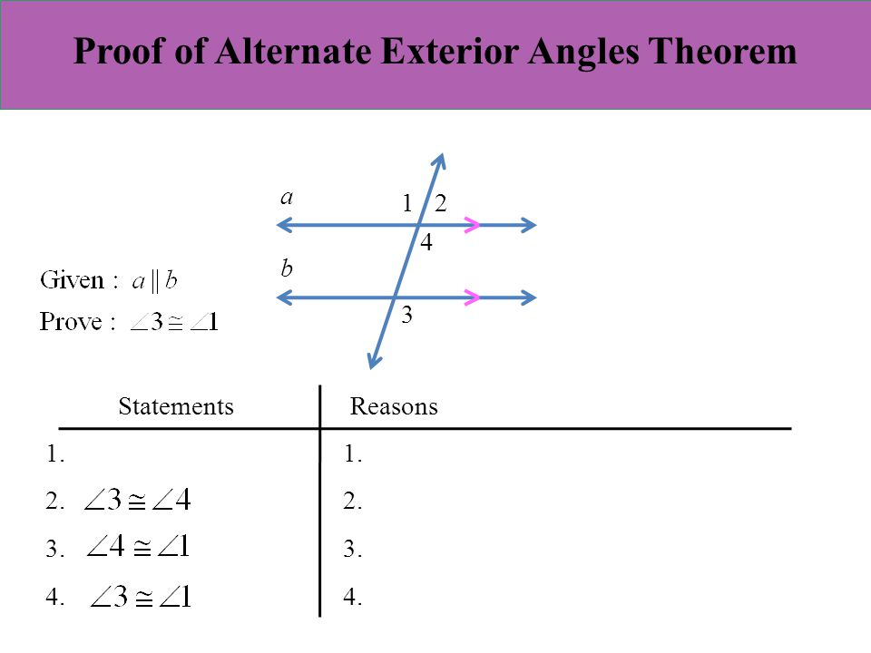 3 1 properties of parallel lines ppt video online download for Alternate exterior angles conjecture