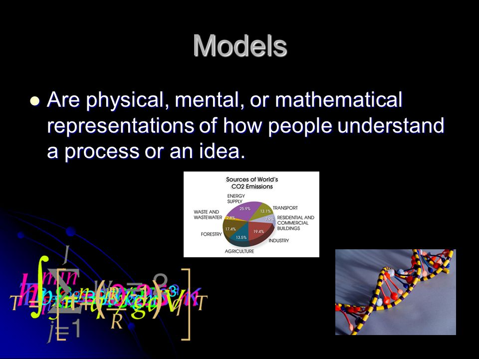 Models Are physical, mental, or mathematical representations of how people understand a process or an idea.