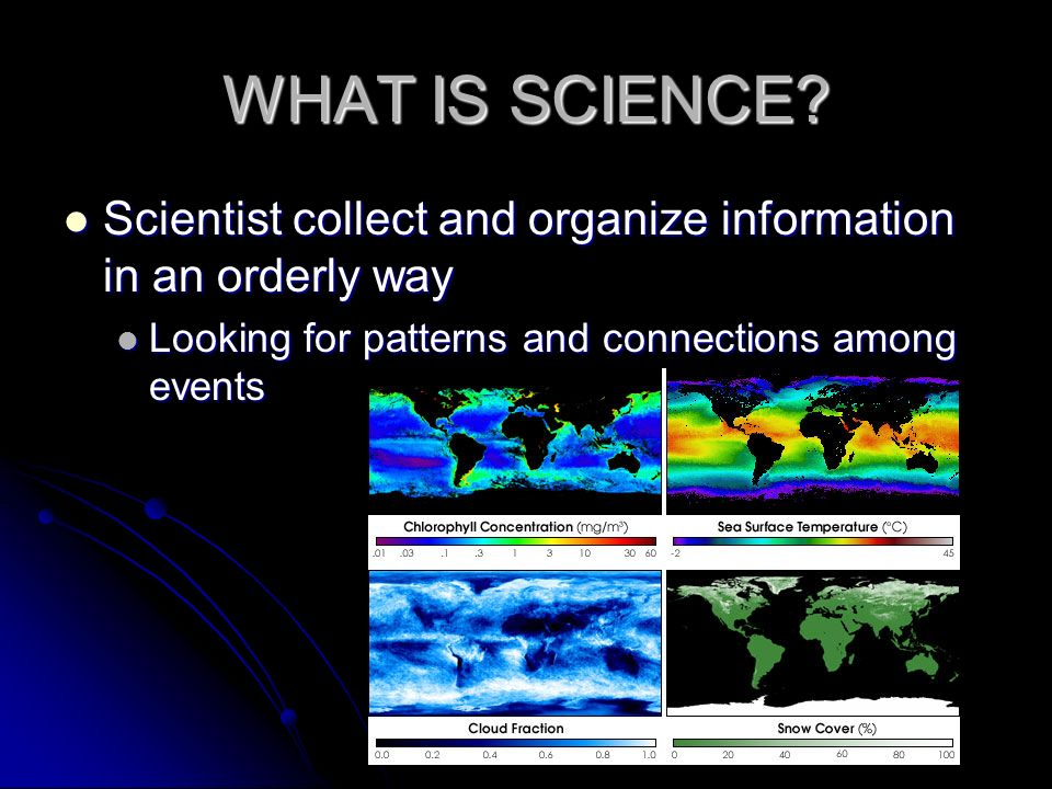 WHAT IS SCIENCE. Scientist collect and organize information in an orderly way.