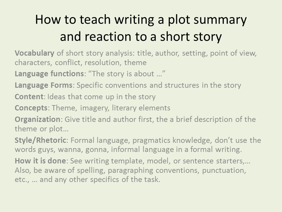 How to Write a Short Story Summary