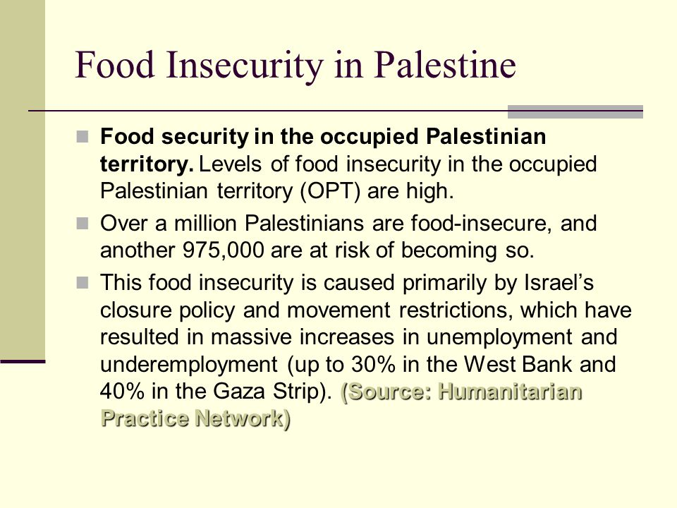 Food Insecurity in Palestine