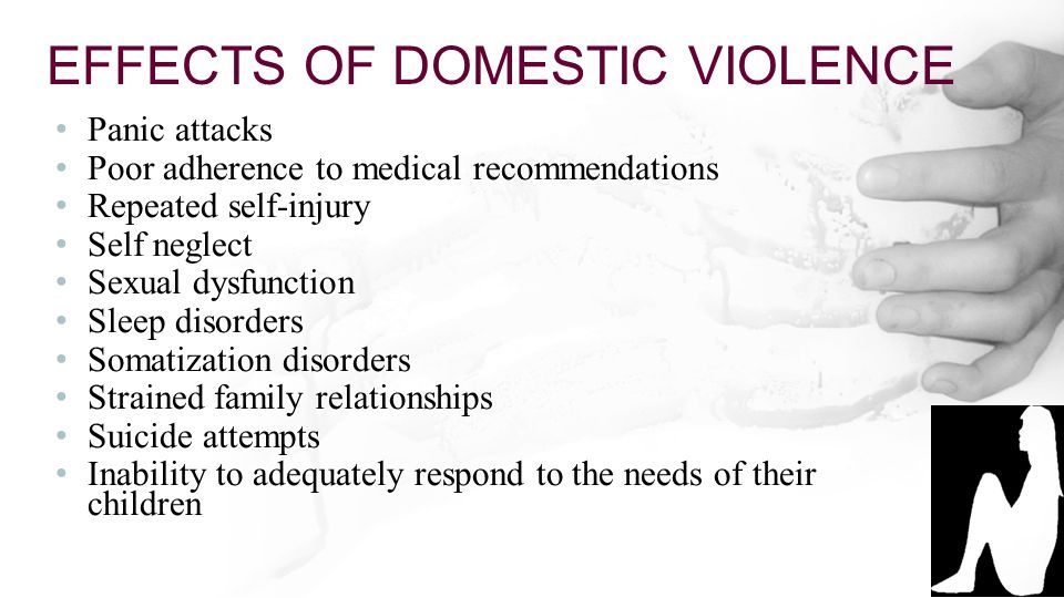 cause an effect of domestic violence Sexual violence can have psychological, emotional, and physical effects on a survivor these effects aren't always easy to deal with, but with the right help and support they can be managed.