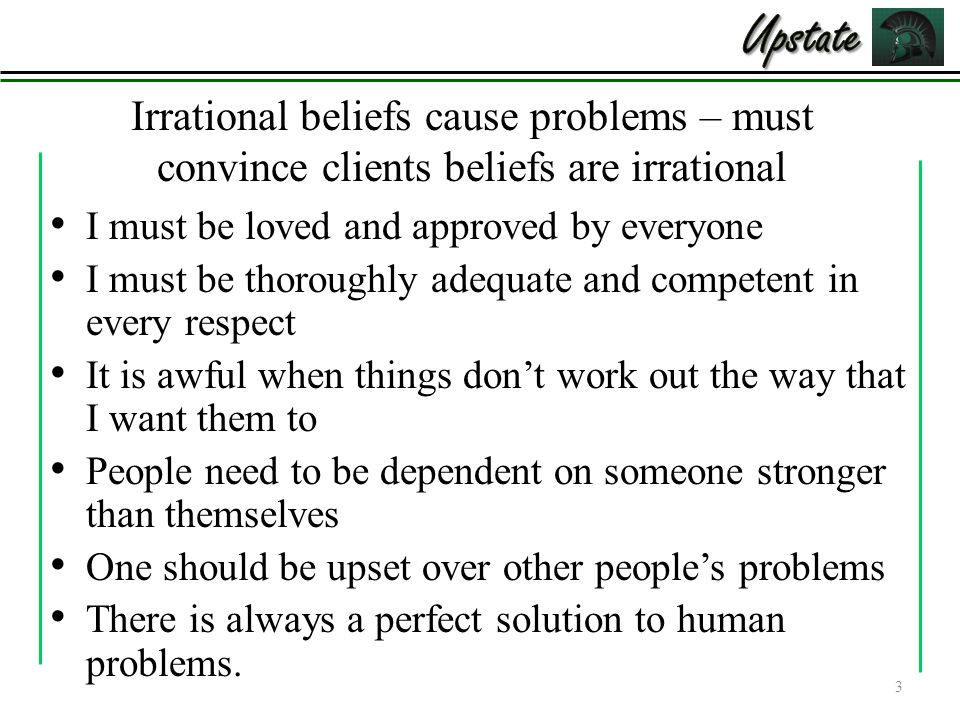 irrational beliefs Disputing irrational beliefs beliefs and thoughts have an impact on how you feel and how you feel influences what you choose to do if the thoughts are irrational, they can trigger, amplify and maintain.