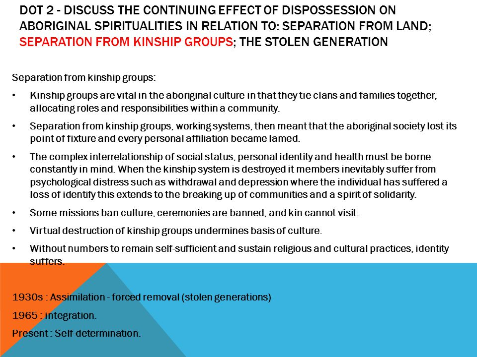 effect of dispossession on aboriginal spiritualities religion essay Religion and belief systems in australia post-1945 contemporary aboriginal spiritualities aboriginal  the effect of dispossession:  essay on sor1 notes.