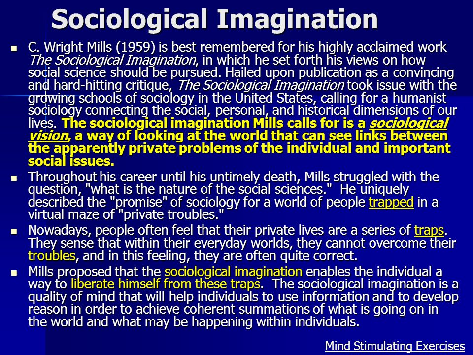 sociological imagination critique The sociological imagination was written by c wright mills in 1959, and he died in 1962 only three years later he was a sociologist at columbia university, and the goal of this book was to analyze the discipline of sociology with suggestions for improvement.