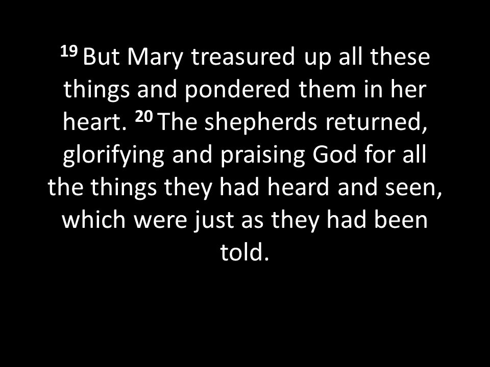 19 But Mary treasured up all these things and pondered them in her heart. 20 The shepherds returned, glorifying and praising God for all the things they had heard and seen, which were just as they had been told.