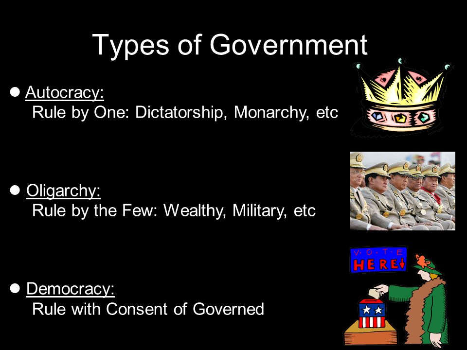 Types of Government Autocracy: Rule by One: Dictatorship, Monarchy, etc. Oligarchy: Rule by the Few: Wealthy, Military, etc.