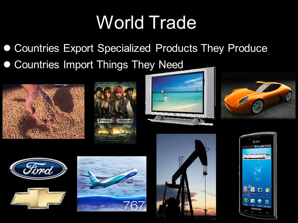 World Trade Countries Export Specialized Products They Produce