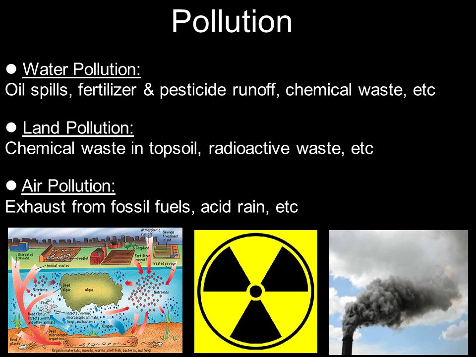 Pollution Water Pollution: Oil spills, fertilizer & pesticide runoff, chemical waste, etc.