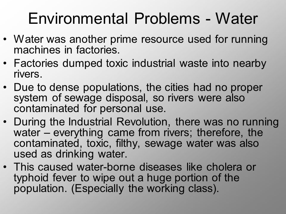 environment issues and the industrial revolution The industrial revolution led to development of the nations and strengthened economies worldwide, but it also created a lot of social problems these problems had both immedia te and long term effects the industrial revolution led to use of machines thus leading to the current unemployment issue.