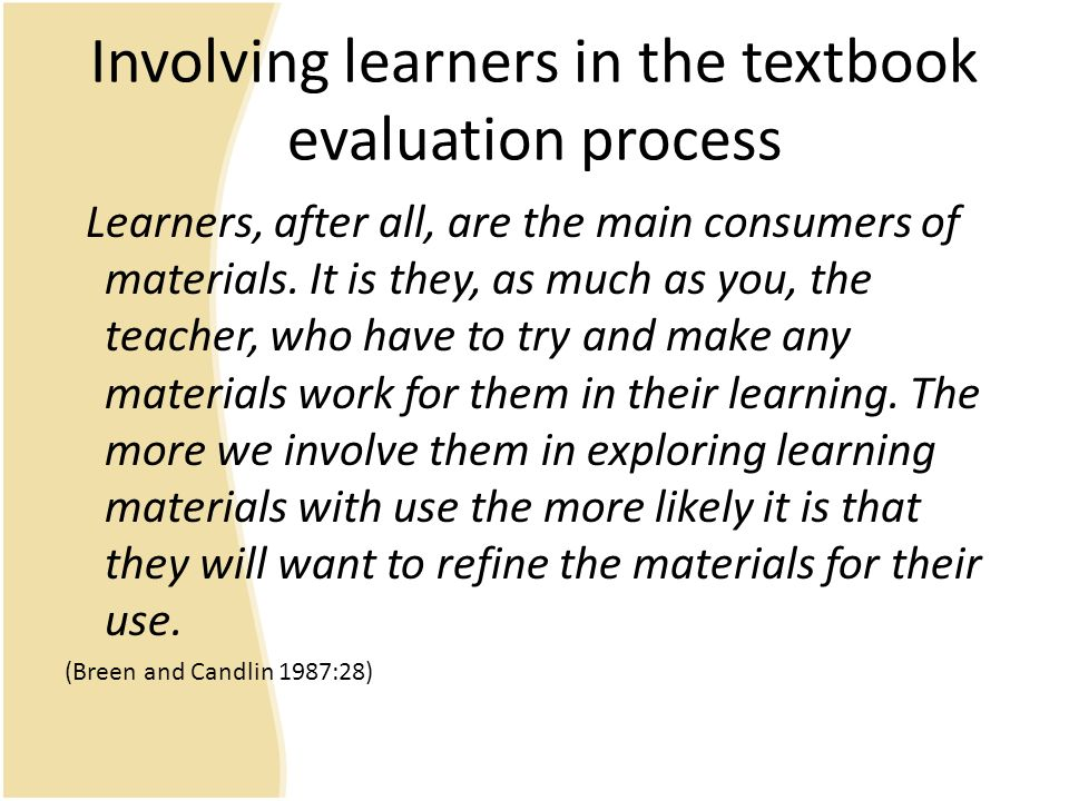 textbook evaluation method To further understand an individual's capacity to perform a given set of tasks, an evaluation form is created though a feedback may be given out in the most.
