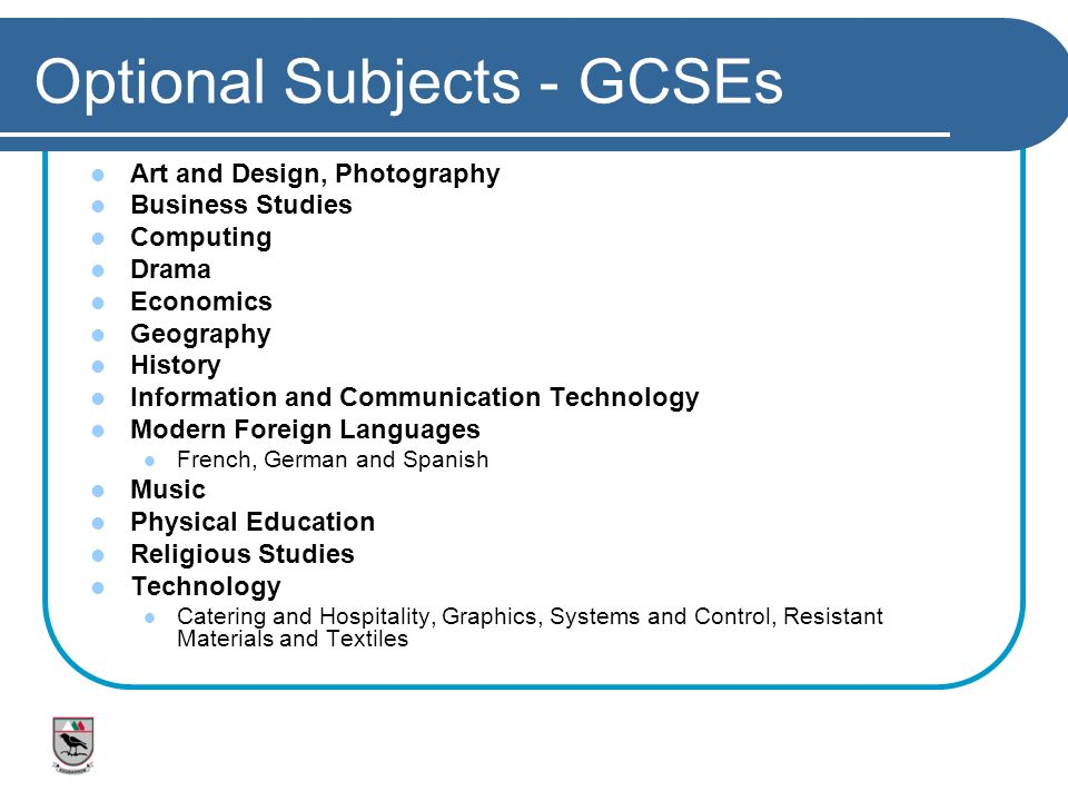 Optional Subjects - GCSEs