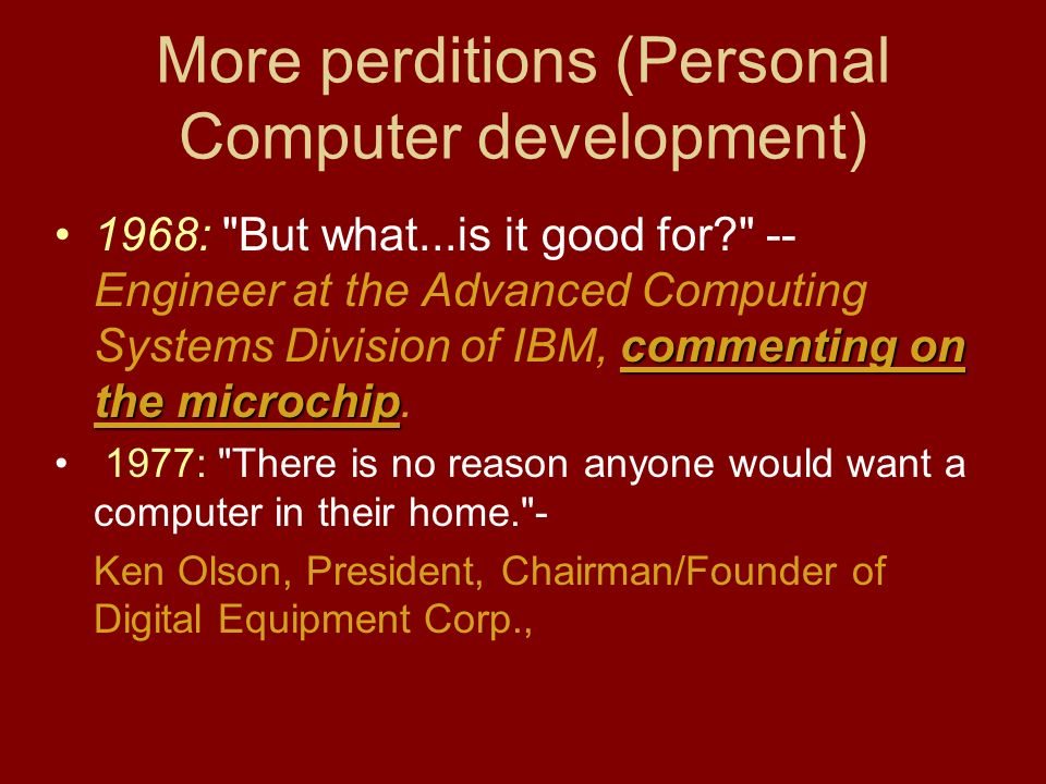 development of personal computers History of computers  personal computer applications took off as a floppy disk was a most convenient publishing medium for distribution of software.