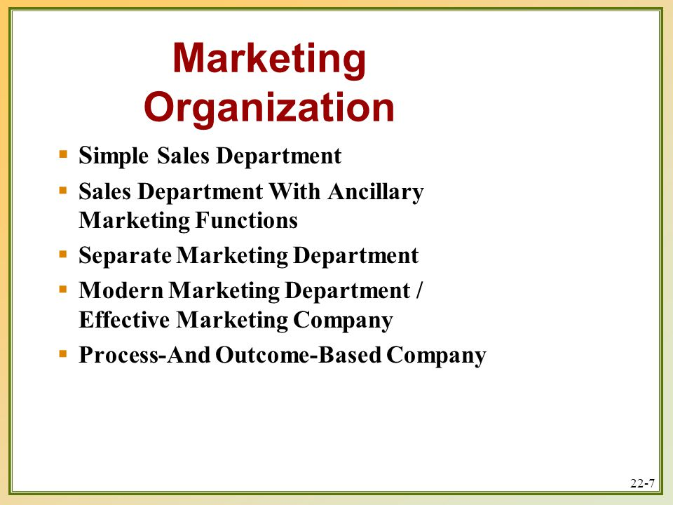 functions of the sales department We clarify the role of marketing, design the marketing organization, and develop  client capabilities needed for success.