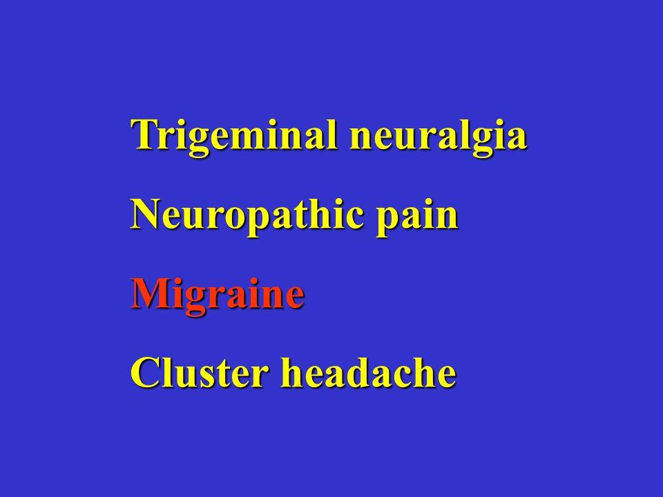 Trigeminal neuralgia Neuropathic pain Migraine Cluster headache
