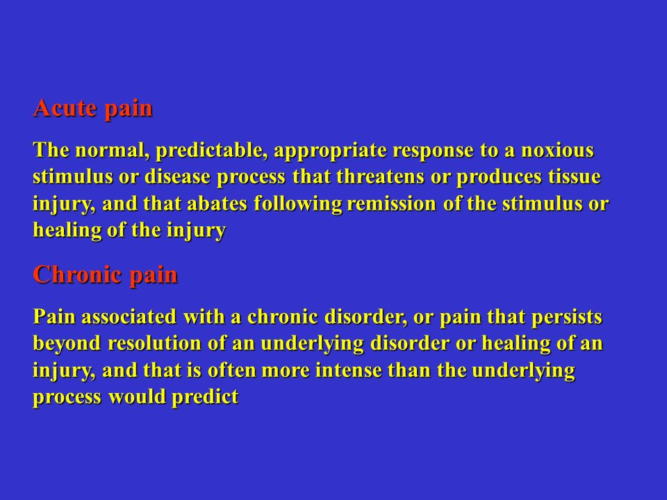 Acute pain Chronic pain