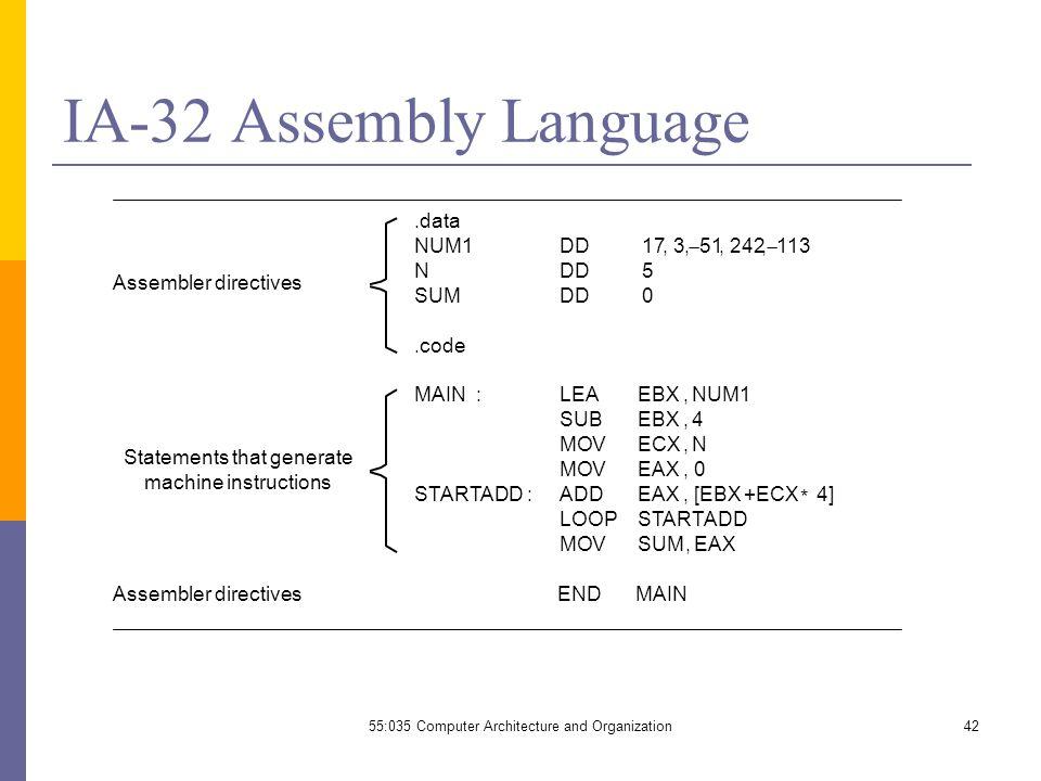 assembly language instructions list