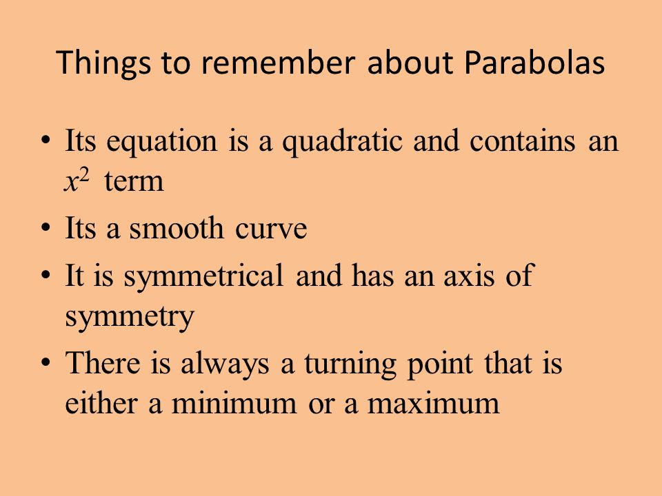 Things to remember about Parabolas