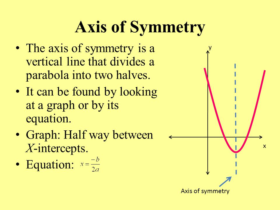 Axis of Symmetry The axis of symmetry is a vertical line that divides a parabola into two halves.