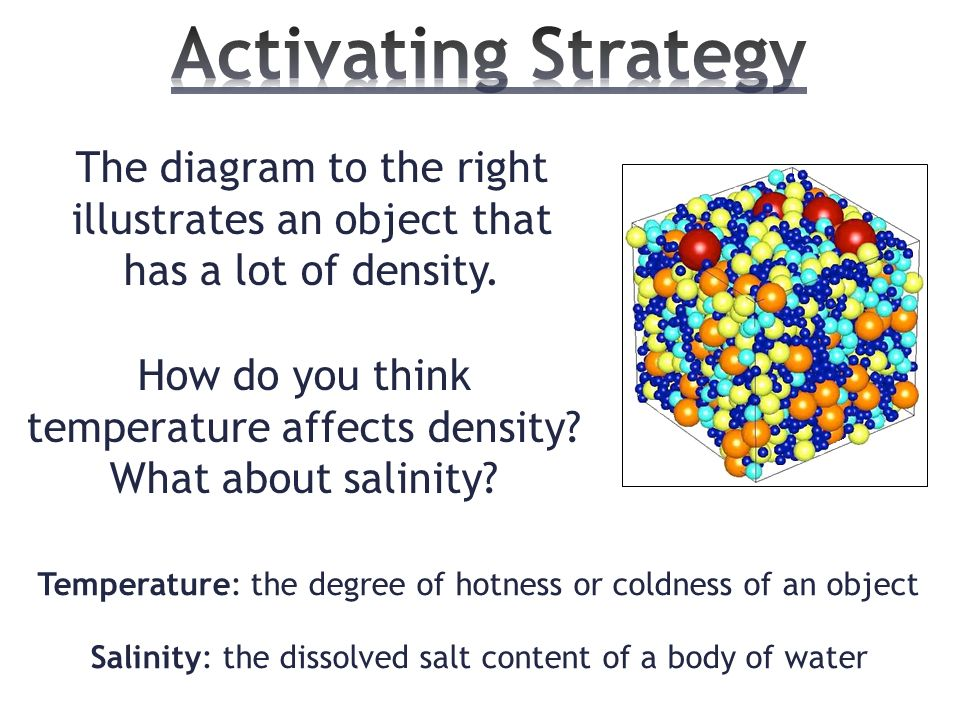 how does the water temperature of 025 g ml and fresh waterhow does density affect ocean currents 2 students will identify salinity and temperature as factors which affect the density and.