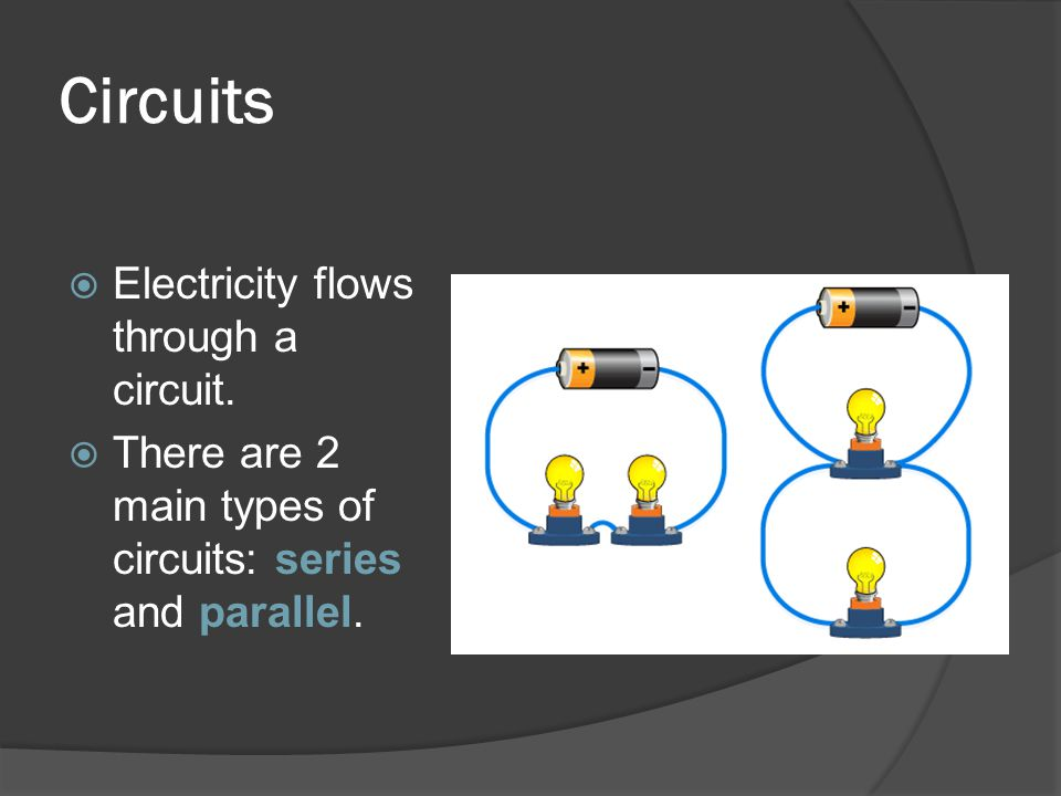 Circuits Electricity flows through a circuit.