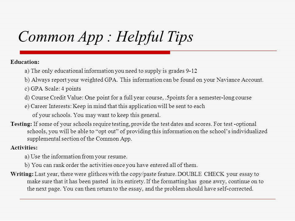 what format should i use for common app essay Your long essay for the common app can be repurposed as your personal statement, and your short essay, if it's not already about a summer experience, can be fleshed out to describe a part of you that will gel nicely with the undergraduate college you're applying to.