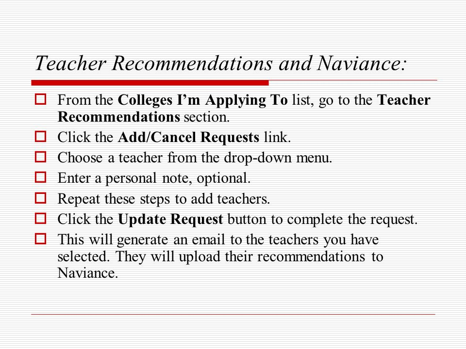 Teacher Recommendations and Naviance: