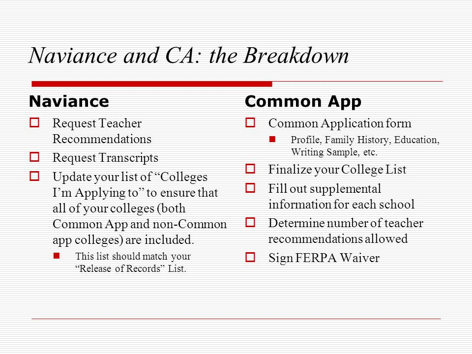 Naviance and CA: the Breakdown