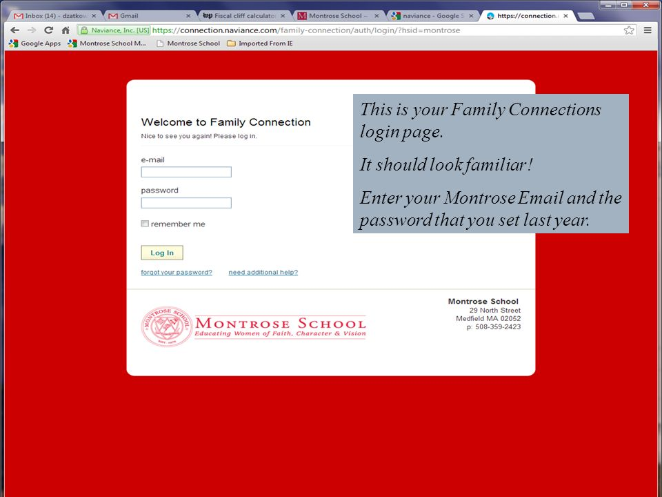 This is your Family Connections login page.