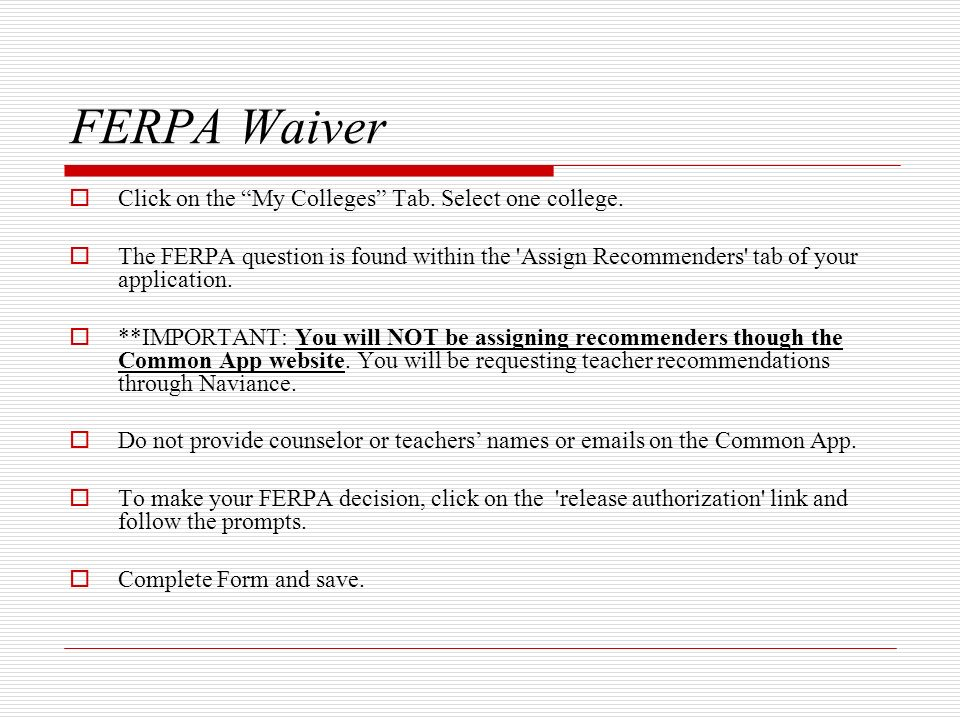 FERPA Waiver Click on the My Colleges Tab. Select one college.