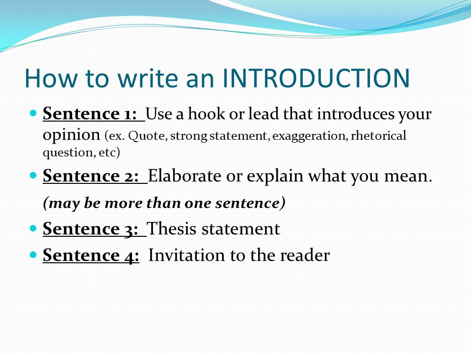 how to write introduction How to write introductions a well-written introduction gives the reader a feel for what you are going to be writing about it lays out the scope of the argument it.